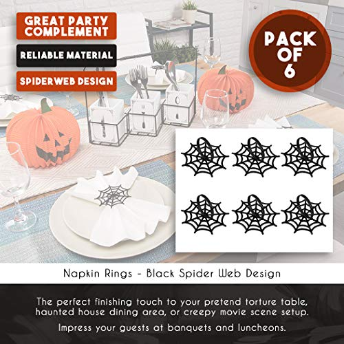 Juvale Halloween Napkin Rings - 6-Pack Black Spider Web Spooky Design Napkin Holder, Scary Costume Theme Party Supplies, Accessories, Lunch and Dinner Table Decoration by Juvale (Image #3)