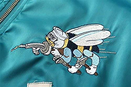 Cappotto Lunga Con Fiori Donna Manica Taglie Vintage Pilot Giacche Giacca Cerniera Bomber Ragazze Forti Fashion Autunno Casual Ricamo Eleganti Grün Coat zHx8qYw