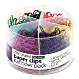 Officemate PVC Free Color Coated Clips, Assorted Colors, 450 per Tub (300#2, 150 Giant) (97227)