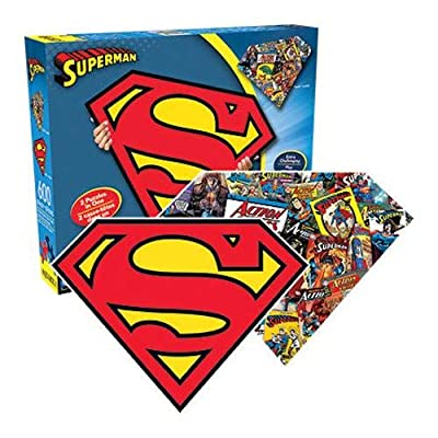 Aquarius Superman Logo 600 Piece 2 Sided Diecut Shaped Jigsaw Puzzle: Toys & Games