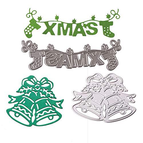 Cutting Dies Metal Stencils 2pcs Christmas Bell Scrapbooking Tool DIY Craft Carbon Steel EmbCutting Dies 4pcs Flowers Leaves Handmade DIY Stencils Template Embossing for Card Scrapbooking Craft (Xmas)