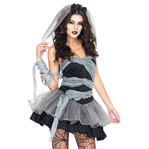 Womens Fantasy Bride Costumes (Brawdress Vampire Bride Halloween Cosplay Fantasia Ghost Costumes Wedding Women Party Mini Strapless Short Dresses Gown (One size, Black))