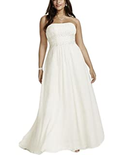 56d464598b Veilace Women s Plus Size Chiffon Empire Waist Gowns with Appliques Wedding  Dress Beaded Sash Bridal Dress