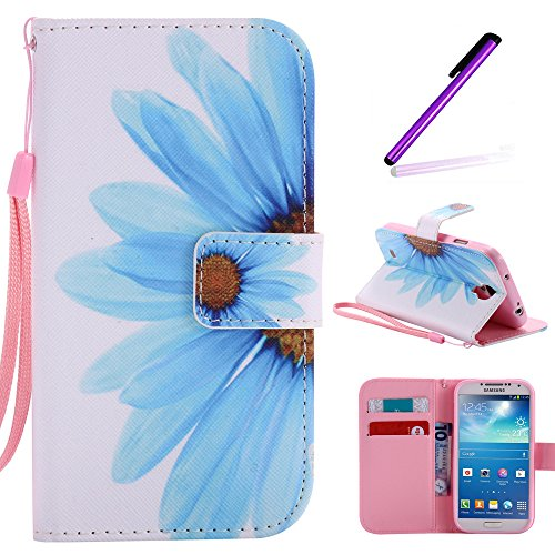 S4 Case,Galaxy i9500 Case LEECOCO Fancy Paint Floral Design Case [Credit Cards Slot] [Cash Pockets] PU Leather Flip Wallet Case with Stand for Samsung Galaxy S4 I9500,Sky Blue Sunflower