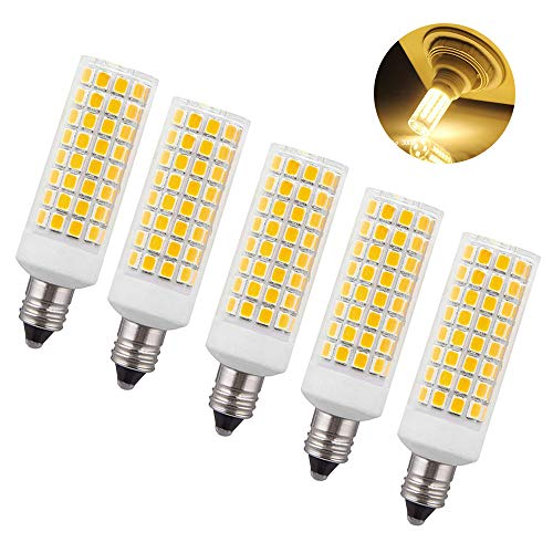 - 5-Pack JD E11 Led Bulbs 7W (100W 150W Ceiling Fan Halogen Bulb Equivalent), T4 JD E11 Mini Candelabra Base, Dimmable 1000Lm Warm White 2700K for Chandeliers, Ceiling Fan Light,Home Lighting