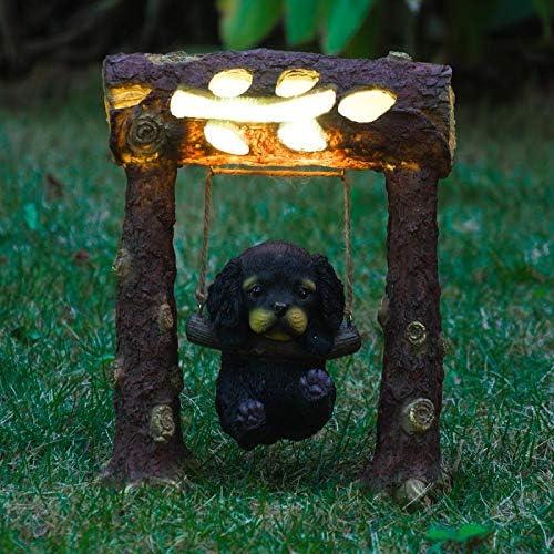 G-mart Solar Powered 10 H Lovely Dog on a Log Outdoor Accent Lighting Led Garden Light Decor