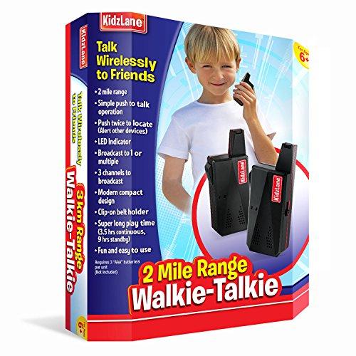 Kidzlane Kids Walkie Talkies (Black) Durable, Easy To Use and Kids Friendly, 2 Mile Range, 3 Channel