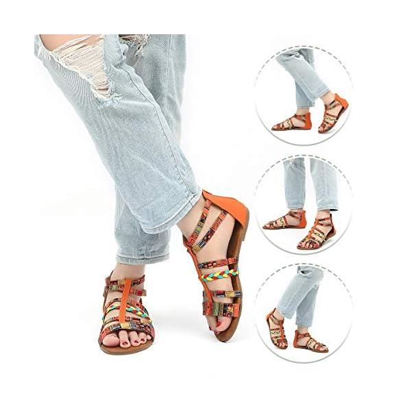 gracosy Sandali Bohémien Donna, Sandali con Cintura Intrecciata Color Spiaggia Estate Eleganti Sandali Piatti 2019 Estate Nuove Scarpe Comode da Donna