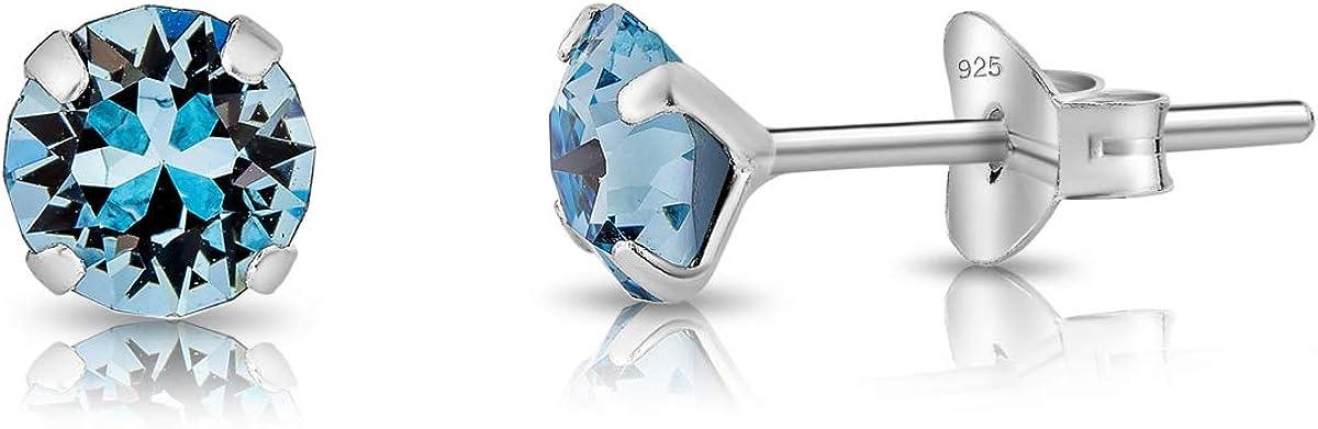 DTPsilver® Semental Pendientes/Aretes de Plata de Ley 925 con Cristales Swarovski® Elements Pequeños Redondos - Diámetro: 5 mm