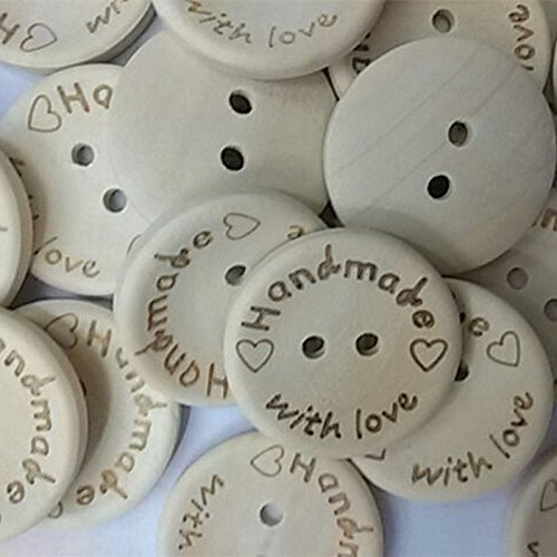 Fangfang 100pcs Handmade 2 Holes Wooden Sewing Buttons With Love Scrapbook DIY Button Craft (15mm)