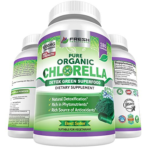 Chlorella Capsules 100% Certified Organic 180 Vegan Capsules – No.1 Source of Chlorophyll & CGF-1200mg Pure Natural Detox Superfood - Rich in B Vitamins, Minerals & Protein-Cracked Cell Wall