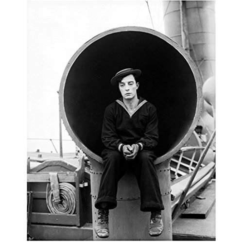 Buster Keaton Posing on Boat Deck Dressed as a Sailor 8 x 10 Inch Photo