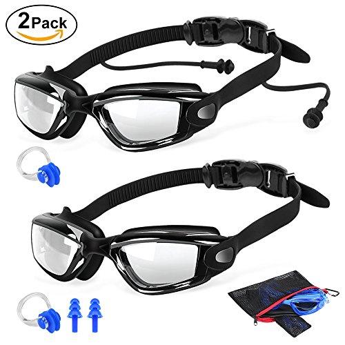 2 Packs Swim Goggles + Nose Clip + Earplugs + Mesh Pouches, ELECOOL Anti fog UV Protection NO Leaking Lenses Swimming Glasses & Swim Gear for Women Men Kids Girls Boys