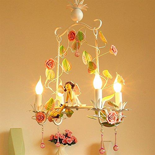 Angel E14 chandelier flower garden crystal restaurant children's room girl Princess bedroom candle lamps ZA929601 by WINZSC