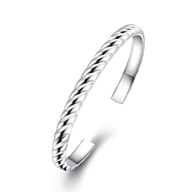 Amazon Com Fendina Womens 925 Sterling Silver Plated Twisted Cable
