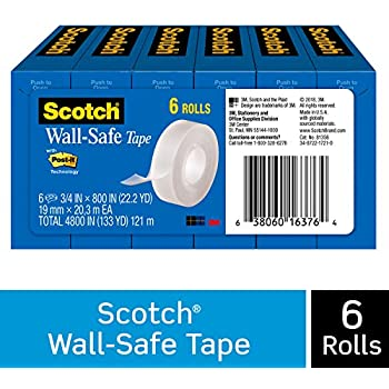 Scotch Wall-Safe Tape, Non-Damaging, Invisible, Engineered for Displaying, 3/4 x 800 Inches, Boxed, 6 Rolls (813S6)