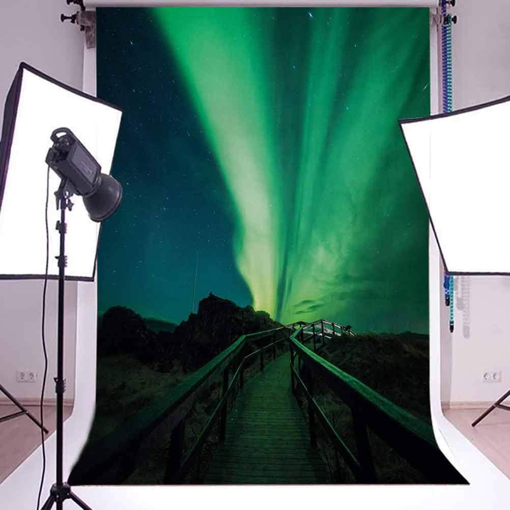 Aurora Borealis 10x15 FT Photo Backdrops,Wooden Bridge Solar Sky Scenic Radiant Rays Arctic Magic Scenery Background for Photography Kids Adult Photo Booth Video Shoot Vinyl Studio Props