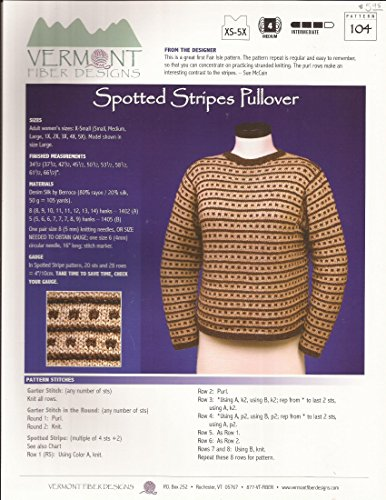 (Spotted Stripes Pullover - Vermont Fiber Designs Knitting Pattern #104 - XS-5X - Pattern Only)