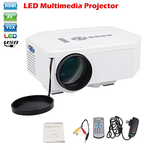 Sunsbell® Portable Mini Hd LED Projector Cinema Theater,support Pc Laptop Hdmi VGA Input and Sd + USB + Av Input,for Iphone,galaxy,laptop,mac.with Remote Control --White