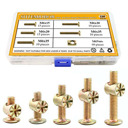 Sutemribor 120PCS M6 x 15/20/25/30/35mm Zinc Plated Hex Socket Head Cap Screws Bolts Furniture Bolts with M Barrel Nuts Assortment Kit for Furniture Cots Beds Crib and Chairs by Sutemribor