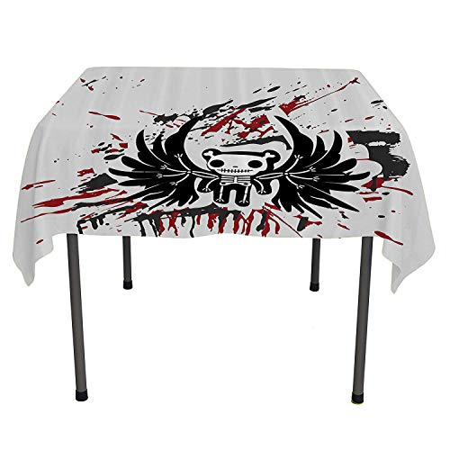 Halloween, Wipeable Table CoverTeddy Bones with Skull Face and Wings Dead Humor Funny Comic Terror Design, Home Decoration Outdoor, 60x60 Inch Pearl Black Ruby