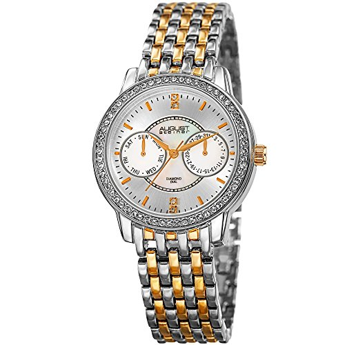 August Steiner Women's Quartz Stainless Steel Casual Watch, Color:Two Tone (Model: AS8228TTG)