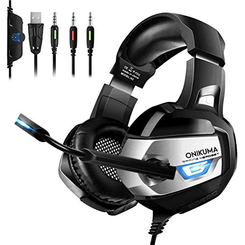 Xbox One Gaming Headset - ONIKUMA Xbox One Headset [2019 K5 Pro] with Noise Canceling Mic &7.1 Surround Bass, Over Ear Gaming Headphones with LED Light for Xbox One, PS4, PC, Mac, Laptop, NS (Best Rated Ps4 Games So Far)