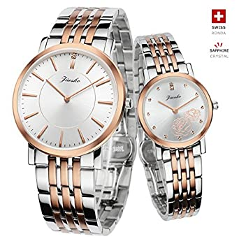 2d639c94cc9a Image Unavailable. Image not available for. Color  Jiusko Swiss - His   Hers  Couple Wrist Watches Gift Set ...