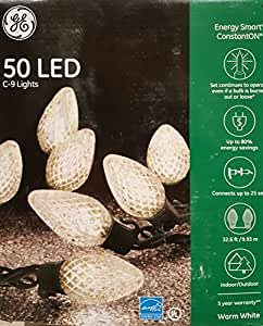 GE 50 LED C-9 Warm White Energy Saving Indoor/Outdoor Holiday Lights with Constant On C9
