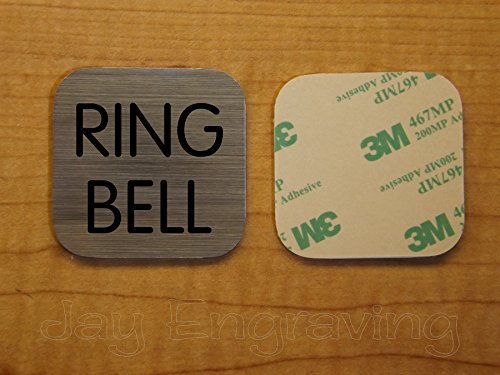 Engraved 2x2 RING BELL Brushed Metal Finish Plastic Plate | Door Bell Tag Sign | Adhesive Back | Engraving Small Business Home Office Wall Plaque Doorbell Home Security Sign Placard -