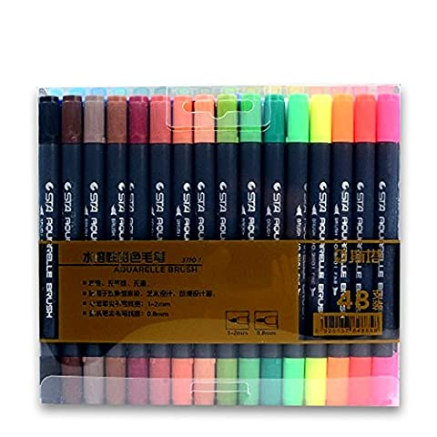 STA 80 Colors Double Head Artist Soluble Colored Sketch Art Marker Brush Pen Set For Drawing Design (48 - Felt Tip Font