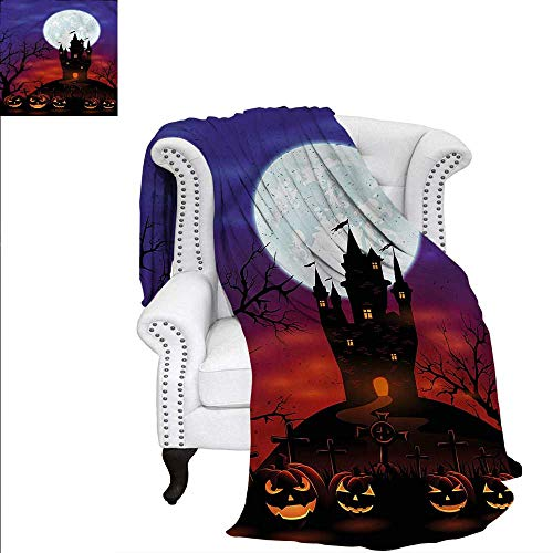RenteriaDecor Halloween Flannel Blanket Haunted Castle Warm Microfiber All Season Blanket for Bed or Couch 70