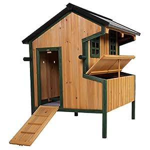 Gallinero gallina casa grande puerta jaula aves Hutch caja nido madera de pino techo