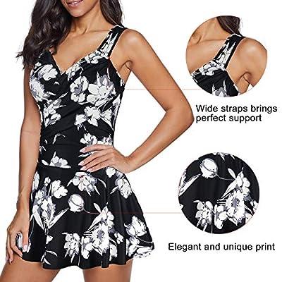 Century Star Women's Elegant V Neck Athletic One Piece Bathing Suit Tummy Control Flower Print Skirt Swimwear: Clothing