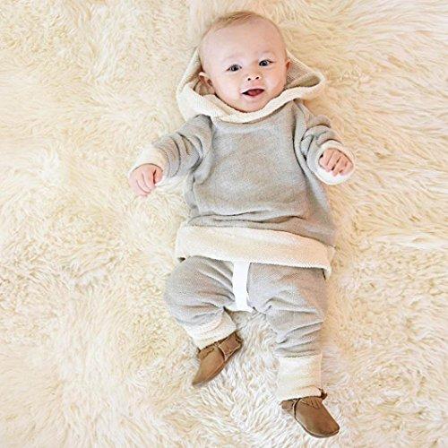 Hoodie Bekleidung Baby Neugeborene Babymode mit Kleinkind Hosen Outfit 0 Mädchen Sweatshirts Kleidung Gray Longra Jungen Babybekleidung Tops Kapuze Langarmshirts Set 18Monate qPrqwB