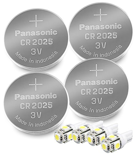 Panasonic ( 4 Pieces - CR2025 + 4 Bonus LED Bulbs ) Lithium Coin Cell Battery