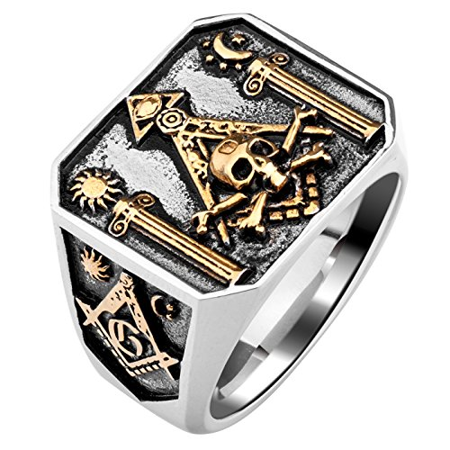 Gothic Lolita Skull Masonic Stainless Steel Ring Omniscient Eye and Freemason Totem Jewelry (12)