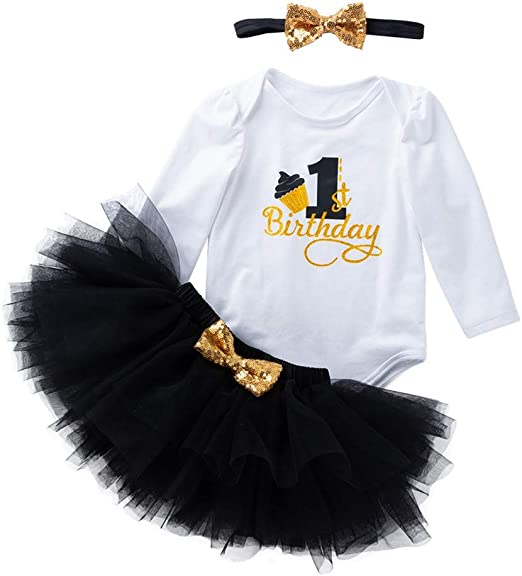 Newborn Baby Girl 1st 2nd Birthday Halloween Romper Tutu Dress Party Outfit Set