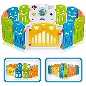 Baby Vivo Parc Bébé Barrière Securitè avec Porte Plastique Enfant Protection Grand Jeu Extensible - COLORS XL 68