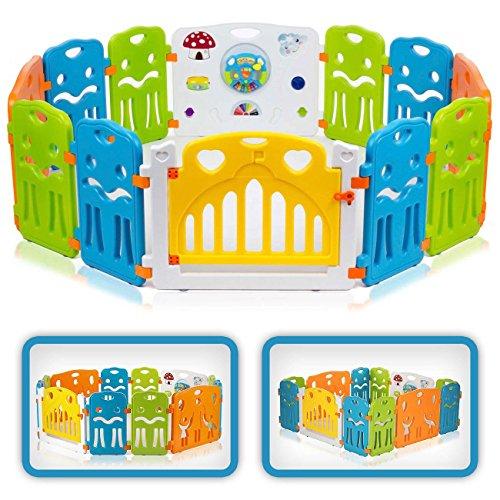 Baby Vivo Baby Box Tweelingbox Kruipbox Krabbelpark Speelbox Veiligheidshek Playpen Baby Kunststof – Colors XL…
