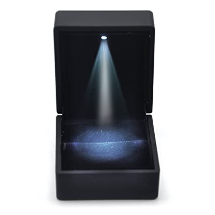 HYY - Caja para anillo con luz LED para compromiso y boda, piel sinté