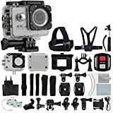 4K HD DV 16MP Sports Action Camera (Silver) - Wi-Fi + Wrist RF + 170° Wide Angle Lens + Waterproof Case & Backdoor + Bike Mount + Chest & Head Strap + Monopod/Selfie + Deluxe Valued Accessory Bundle