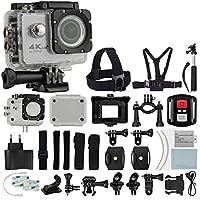 4K HD DV 16MP Sports Action Camera (Silver) - Wi-Fi + Wrist RF + 170° Wide Angle Lens + Waterproof Case & Backdoor + Bike Mount + Chest & Head Strap + Monopod/Selfie + Deluxe Valued Accessory Bundle