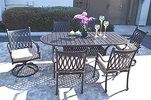 Patio 7 piece dining set 4 Grand Tuscany chairs 2 swivel patio chairs and 1 Nassau oval table