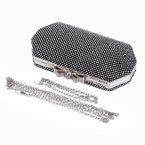 Damara Paved Bag Womens Rhinestone Multipurpose Metal Shiny Silver Bridal rgrUqw6t