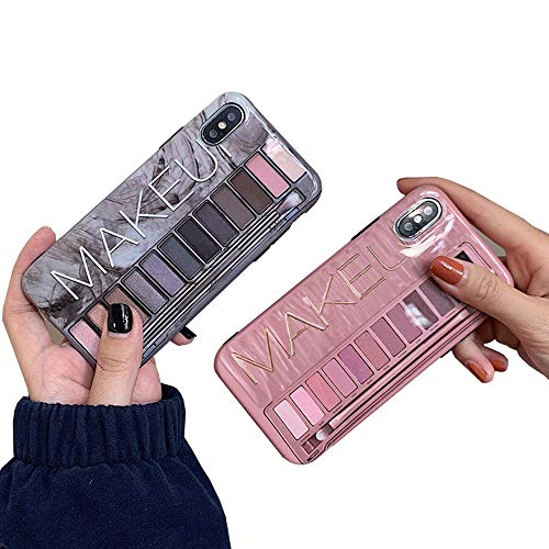 ICI-Rencontrer Fashion 3D Eyeshadow Palette Design iPhone XR Case Girls Women Sexy Make-up Box Soft TPU Skin 360 Degree Anti-Scratch Protective Case Pink