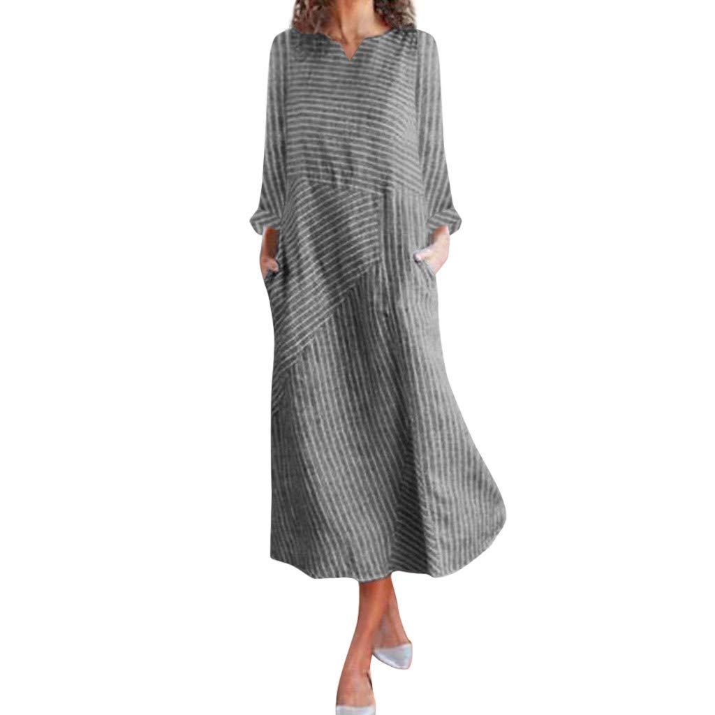 Winsummer Women's Stripe Cotton Linen Maxi Dress Long Sleeve Loose V