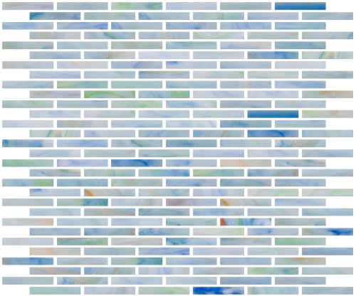 Susan Jablon Mosaics - 1/4 Inch Watercolor Blue Stained Glass Subway Tile