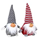 Funoasis Christmas Gnome Gifts Holiday Decoration Kids Birthday Present Handmade Tomte Plush Doll, Home Ornaments Tabletop Santa Figurines (8 inch) (Grey + Red)