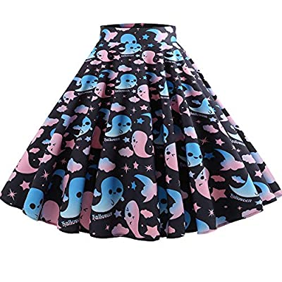 NREALY New Women's Casual Retro Halloween Printing Evening Party Skirt Swing Skirts